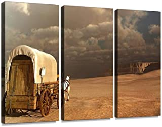 Old Wagon in The Desert Print On Canvas Wall Artwork Modern Photography Home Decor Unique Pattern Stretched and Framed 3 Piece