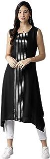 Navlik Women's Crepe Stitched Kurti (Black) FT-7