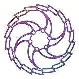 Alomejor Freno de Disco de Bicicleta Corte CNC Freno de Disco Hueco de Acero Inoxidable Piezas de Freno de Disco de Rotor Flotante Colorido(203mm)