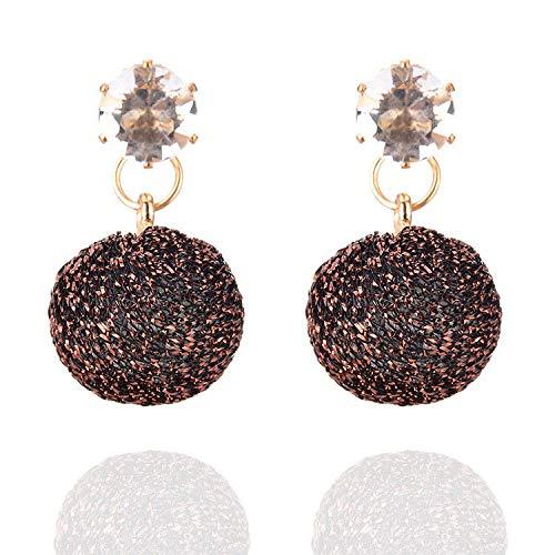 EGGofry Oorbellen voor vrouwen van Europese en Amerikaanse stijl, sfeer, stijlvolle en trendy bolletjes met diamanten oorringen, kleine voorwerpen, oorversieringen en koffiekleurig
