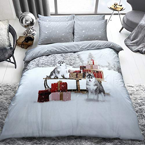 Winter Huskies Duvet Cover Quilt Bedding Set with Pillowcases - Double