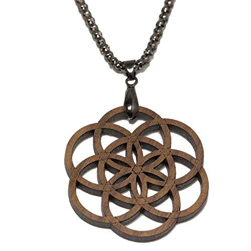 Eydl Wood Jewelry Samen des Lebens - Holzanhänger - Amulett Nuss - Dunkles Holz - mit Halskette 77 cm