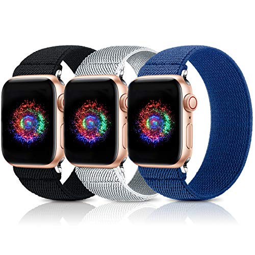 GeekSpark Elastic Band Compatible for Apple Watch Bands 38mm 40mm 42mm 44mm Stretchy Loop Strap Replacement Wristband for iwatch Series 6/SE/5/4/3/2/1(3 Pack)