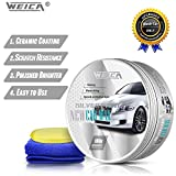 WEICA Car Wax Silver Solid for Silver Cars, Carnauba Car Wax Kit Cleaner, Car Waxing Scratch Resistance Auto Ceramics Coating 180g with Free Waxing Sponge and Towel- Silver