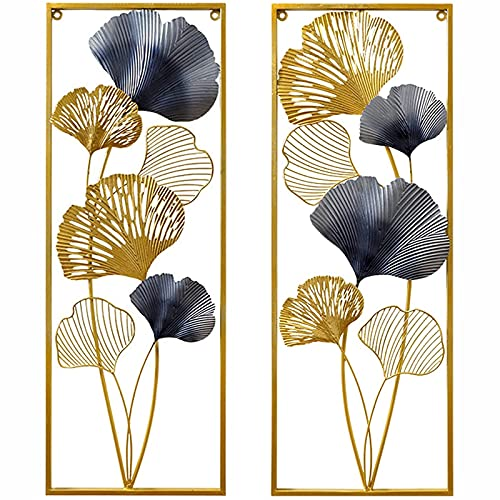 DINGFAN Wall Decoration for Living Room, Metal Sculpture Wall Art, Ginkgo Leaf Wall Decoration Pendant Handmade Wrought Iron Wall Decoration, for Home Kitchen Bedroom Hallway (Size : 2)