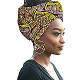 HZQIFEI Mujer Accesorios para El Cabello Moda Colores Brillantes Hijab de Impresión de Patrones con Pendientes de Arco (Style#15, 55 * 180cm)
