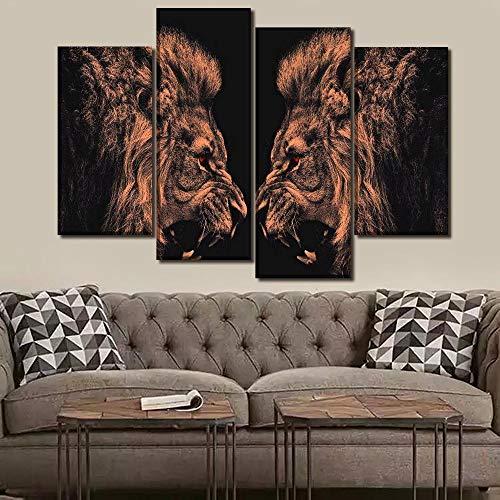 ANTAIBM® 4 Dekorative Malerei Wohnzimmer Fresko Holzrahmen - verschiedene Größen - verschiedene Stile4 Stück Tier heftig rote Augen Löwen Gemälde dekorative Wandkunst modulare Leinwand HD Print Poster