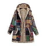 Abrigo con capucha para mujer, estilo vintage, forro polar, con bolsillos, para invierno, cálido, con cremallera