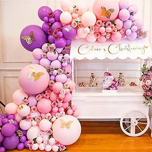 Palloncino Kit Ghirlanda Rosa Viola, Kit Ghirlanda Arco Palloncino Rosa Viola Palloncini Lattice e Farfalla d'oro 3D Decorazioni per Compleanno Matrimonio Festa Battesimo Bambino