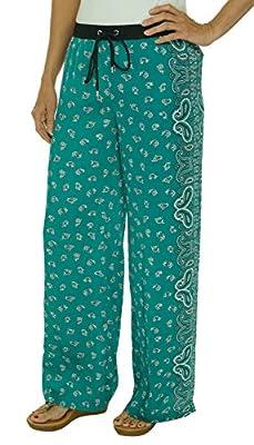 MICHAEL Michael Kors Womens Satin Printed Lounge Pants Blue 6 from Michael Kors