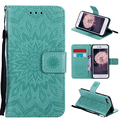 Asnlove Tasche für iPhone 8, Handyhülle iPhone 7 Leder, Premium Ledertasche im Ständer Book Case Brieftasche mit Kartenfach Magnetverschluss und Standfunktion für Apple iPhone 8/7 Design Mandala