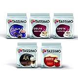 Tassimo Coffee Selection - Costa Cappuccino/Americano/Cadbury Hot Chocolate/L'Or Latte Macchiato/Kenco Americano pods - 5 Packs (56 Servings)