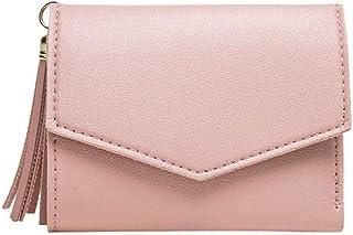 GUMAOPAJIAAAqb Monederos de Mujer, Women's pink tassel multi-card pocket wallet best-selling short tower buckle women's tr...