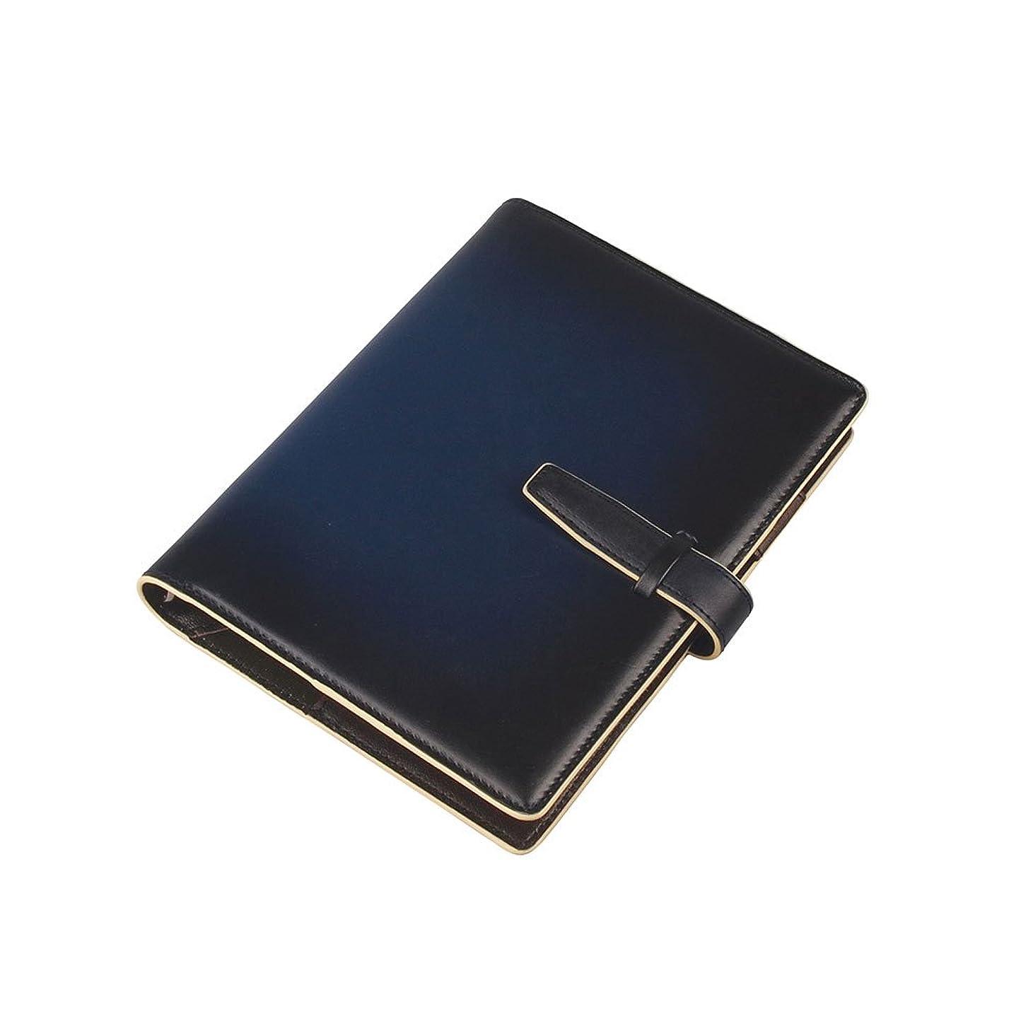 無視する観光義務服部 RYU'S ONE リューズワン GG 本革 システム 手帳 カバー 15mm 6穴 リング ネイビー 154021-NV