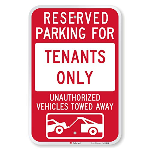 SmartSign - K-8727-EG-12x18 'Reserved Parking For Tenants, Unauthorized Vehicles Towed' Sign   12' x...
