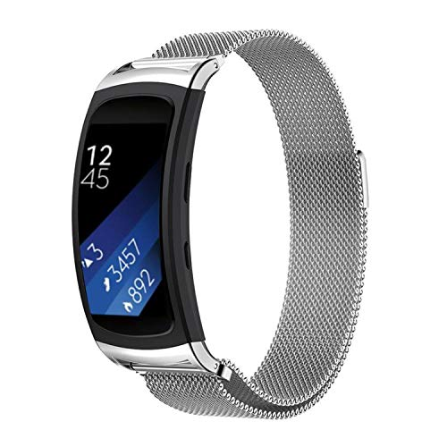 Compatible con Linksky Samsung Gear Fit 2 / Pulseras Gear Fit 2 Pro, correa de acero inoxidable reemplazable para Samsung Gear Fit 2 (SM-R360) / Gear Fit 2 Pro (SM-R365)