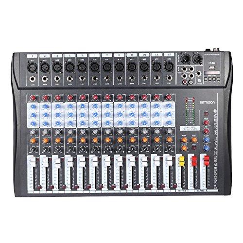 ammoon 120S-USB 12 Canales Mic Mesa de Mezclas Mezclador de Audio 3...