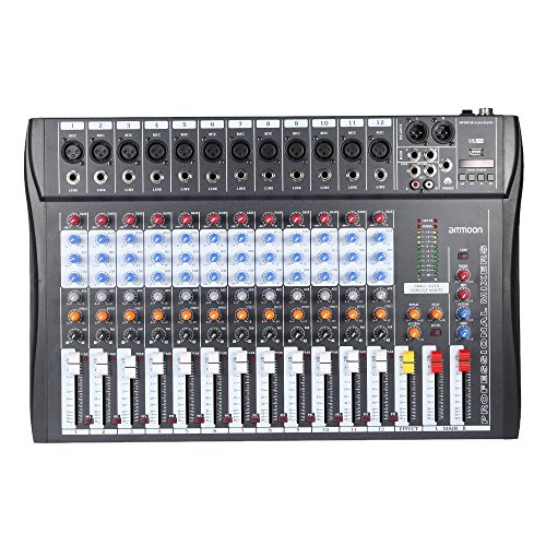 Mischpult Dj Control, ammoon 120S-USB-12-Kanal Mischpult Mixer Mic Line-Audio-Mixer USB XLR Eingang 3-Band EQ mit Netzteil