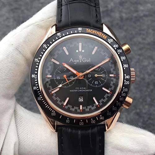 Luxury Men Automatic Meccanico MoonWatch Acciaio Inossidabile Speed Black Blue Leather Bezel Orologi Dark Side AAA7
