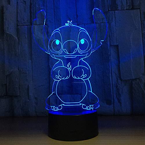 Lieve 3D-illusie lamp led-nachtlampje met 7 kleuren knippert touch-schakelaar usb aangedreven slaapkamer bureaulamp voor kinderen geschenken home kinderkamer decoratie