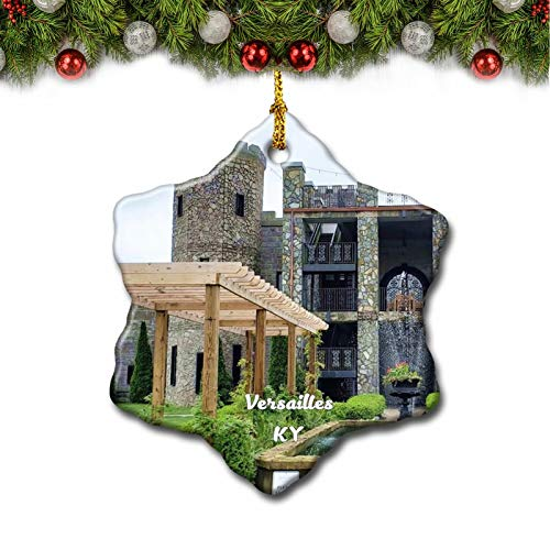 Umsufa Versailles Castle Kentucky USA Christmas Tree Ornament Travel Gift Souvenir 3 Inch Porcelain Double Side