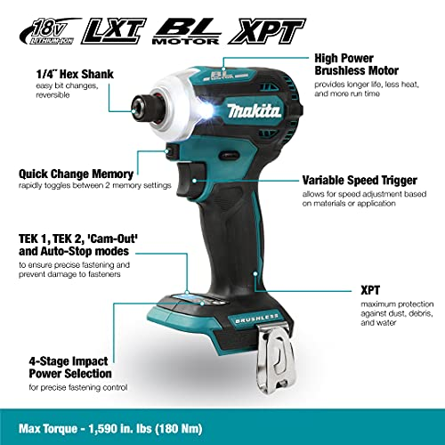 Makita DTD171Z 18V Li-ion LXT Brushless Impact Driver - Batteries and Charger Not Included