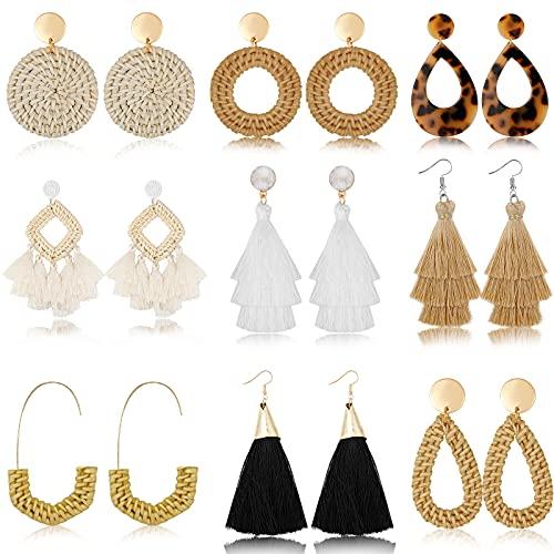 Hazms 9 Pairs Rattan Earrings Tassel Earrings for Women Girls Lightweight Acrylic Geometric...