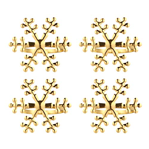 Toddmomy 4 Stück Schneeflocke Serviettenringe Goldene Schneeflockenhalter Ringe Tischdekoration für Weihnachtsferien Hochzeiten