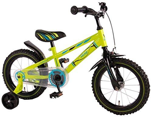14 inch fiets met terugtraprem en steunwielen kinderfiets jongens groen 71434
