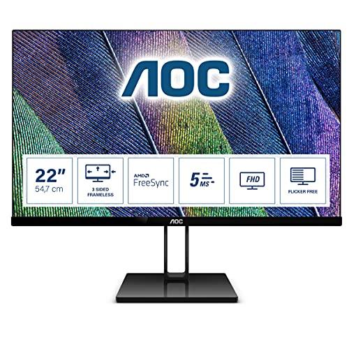 AOC 22V2Q - 22 Zoll FHD Monitor, FreeSync (1920x1080, 75 Hz, HDMI, DisplayPort) schwarz