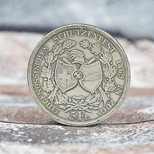 1869 Karnawał Schaffhausen Pamiątkowy Srebrny Dolar Srebrny Okrągły Dominikański Longyang Zagraniczna Moneta Pamiątkowa Kopia Prezent dla Niego