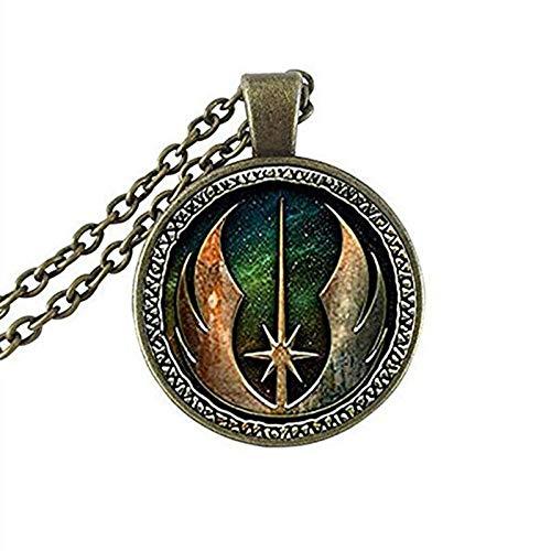 Men's necklace Star Jedi Order Logo Emblem Pendant Necklace Inspired Pendant Necklace Glass Cabochon Necklace