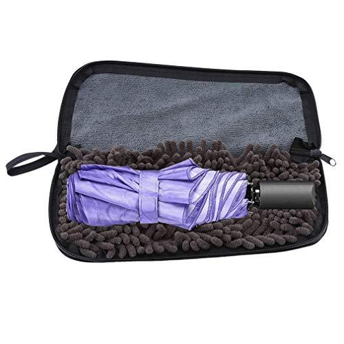 OgquatonSuper wasserabsorbierende Regenschirmtasche Tasche Regenschirmhülle Aufbewahrungstasche mit Reißverschluss, Schwarz und Grau Langlebig und praktisch