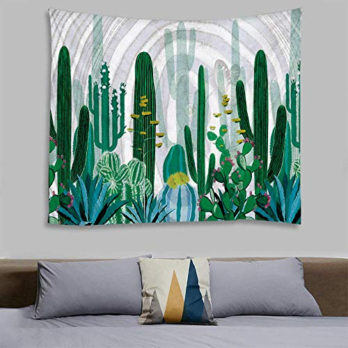 AdoDecor Retro Europ Cactus Tapiz de Paisaje Sala de Estar Dormitorio Impresión múltiple Colgante de Pared Arte de la Pared Estera de Picnic Grande 150x200cm/59 * 79pulgadas