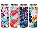 HAPYTHDA Slim Can Cooler Sleeves,Neoprene Insulated Can Covers for 12oz Tall Skinny Can Beer Bottle (4 PACK)