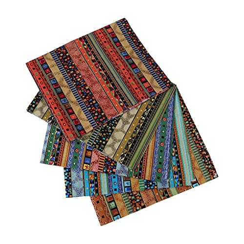 5 Stücke Fat Quarters Baumwollstoff Ethno Muster Stoff Quadrate 50x40cm Floral Patchwork Stoff Vorgeschnittene Quilten Stoff Stoffbündel zum Nähen DIY Gesichtsschutz Basteln