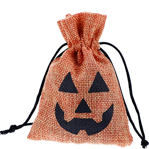 Blulu 30 Pack Halloween Pumpkin Bags Treat Bags Drawstring Goodies Bag for Trick or Treat Party Favors, 3.5 x 5 Inches