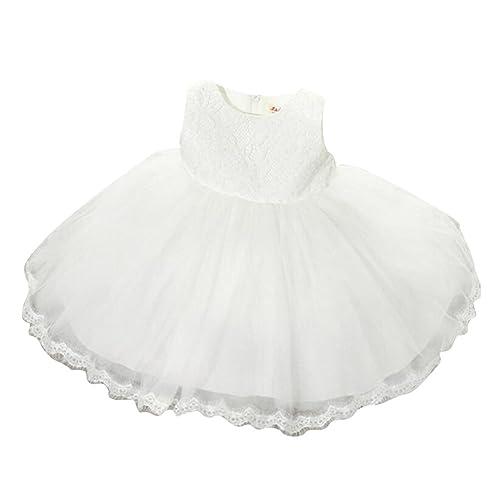 Vestido de fiesta de los bebés de los cabritos del bebé Vestido de boda floral del cordón de la dama de honor Princesa Bowknot Dresses White / 100cm / 2-3years