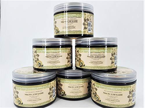 Schwarze sibirische natürliche Seife für die Körper und Haarpflege, Set 6 Stück, 3L Grandma Agafia Natural Herbal Soap Black