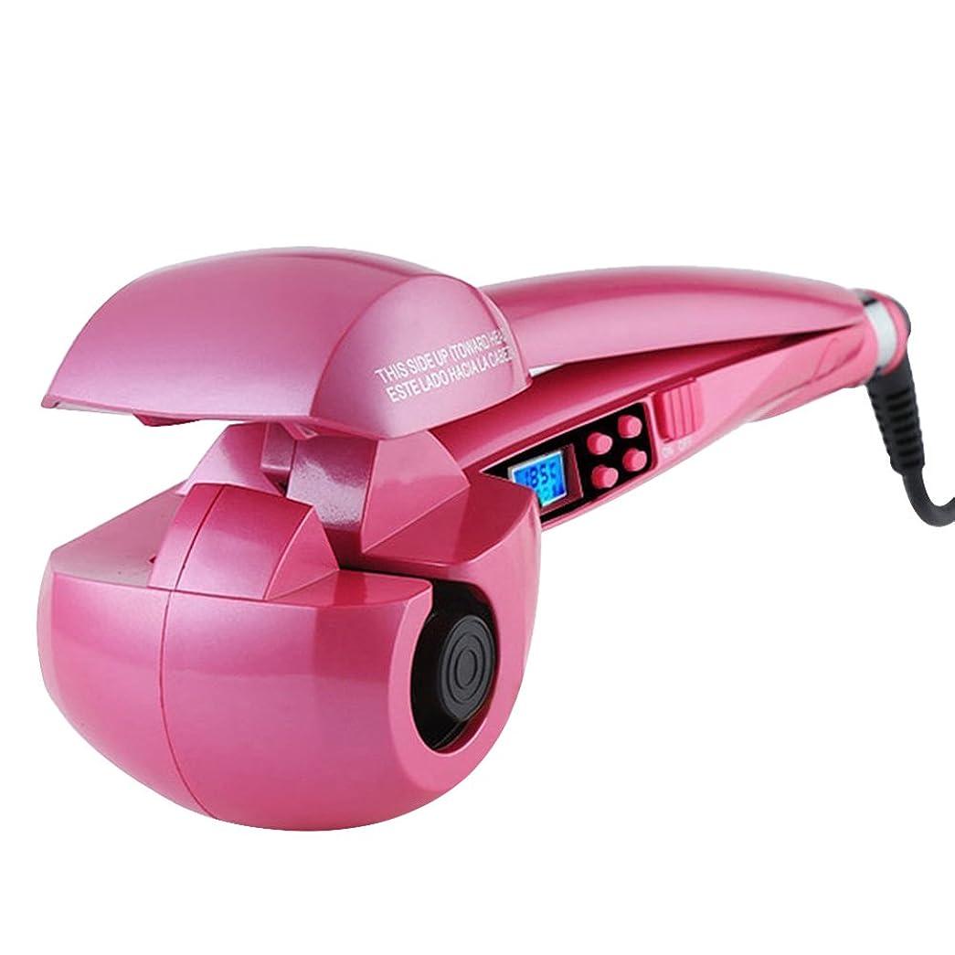 枕機械的コメンテーターH-POWER ヘアアイロン オートカール 海外対応(ピンク)