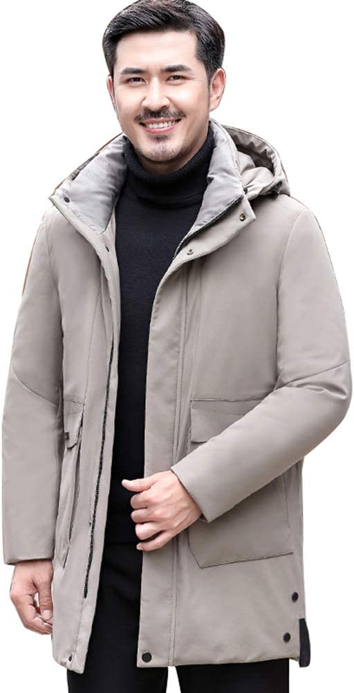Down jacket Winter Middle-Aged Men's Hooded, Medium Long Thicken Warm Winter Jacket, Padding: 80% Gray Duck Down (Color: Black, Blue, Beige)