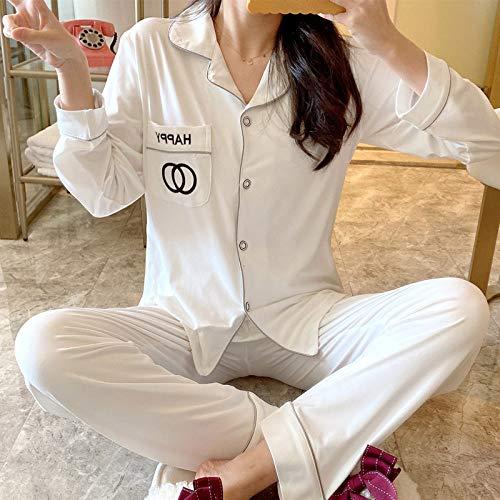 Damen Zweiteil Schlafanzüge,Weiß Soft Modal Revers Nachtwäsche-Sets Einfarbig Elegant Damen Winter Warm Pyjama-Sets Strick-Loungewear Für Damen, M.