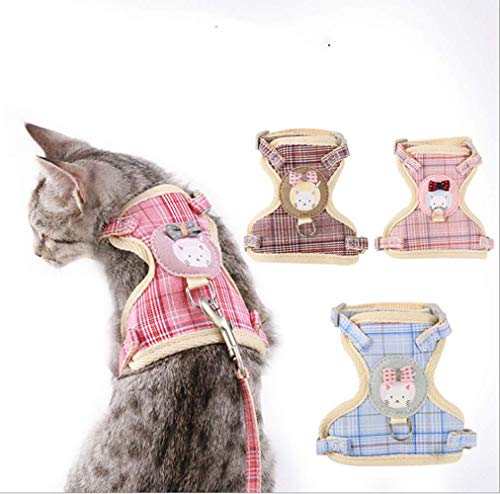 XF Net Harness for Cats, no Tension, Escape Prevention, Padded Vests for Puppies, leashes for Small Dogs, Cartoon Cotton cat Harness Traction Rope (L, Light Pink)