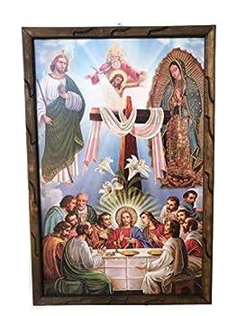 MISANTUARIO Ultima Cena Imagen con Virgen De Guadalupe,St Judas Y Santísima Trinidad Cuadro Rustico # 18715