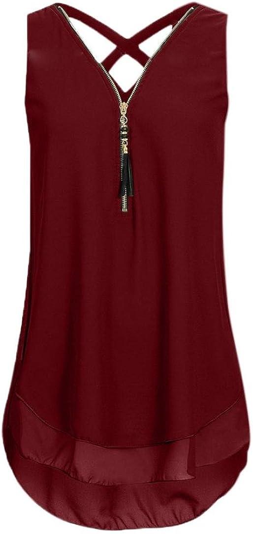 CUCUHAM Women Loose Sleeveless Tank Top Cross Back Hem Layed Zipper V-Neck T Shirts Tops(A-Wine, XXXXL)