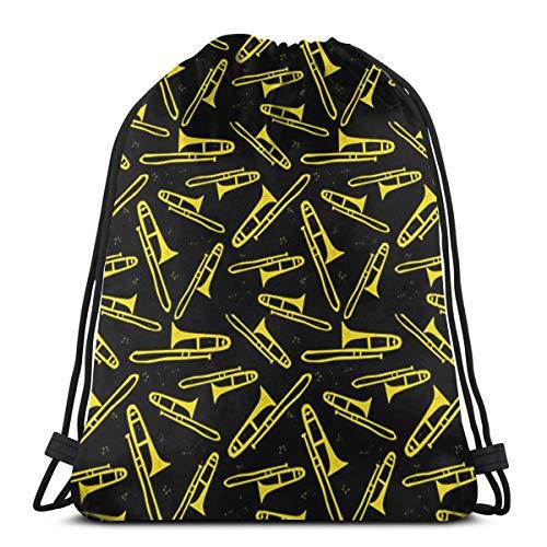 Bolsa de almacenamiento para trombones con cordón, color negro y amarillo, lavable, a prueba de polvo, transpirable, no transparente, para viajes, deportes, gimnasio, para hombres y mujeres