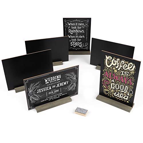 Belle Vous Mini Pizarra Cartel (x6) Pizarra Negra Dos Lados de Sobremesa 22x15cm - Pizarra Tiza Pequeña Mensajes con Soporte de Madera- 3 Tizas con Borrador para Boda, Fiesta, Bar, Buffet, Restaurante 🔥