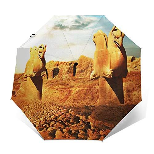 Paraguas Plegable Automático Impermeable Esculturas persas Grifos, Paraguas De Viaje Compacto a Prueba De Viento, Folding Umbrella, Dosel Reforzado, Mango Ergonómico