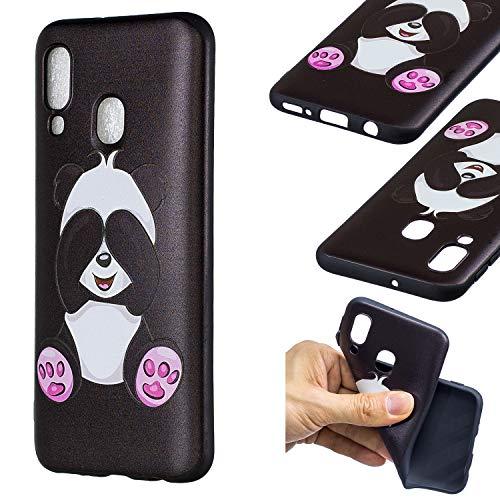 HopMore Compatible pour Coque Samsung Galaxy A40 2019 Silicone Noir Étui Motif Drôle Créative Panda Kawaii Etui Samsung A40 Souple Antichoc Housse de Protection Mince Gel Bumper Case Fine - Panda