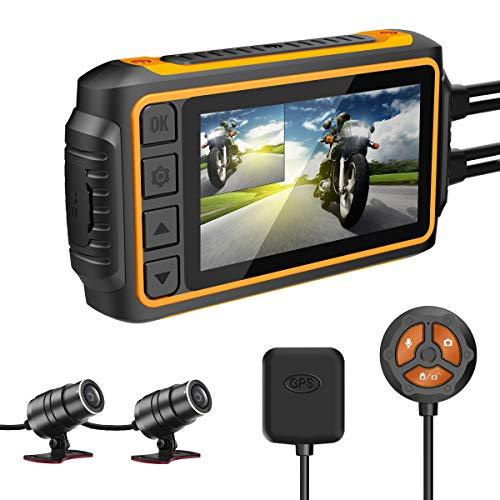 "IXROAD Dash CAM para Moto, 1080P Cámara de Motocicleta Frontal y Trasera con 3\"" LCD, WiFi, GPS, Gyro Anti-Shake, G-Sensor, Control por Cable, Visión Nocturna, 256GB Máximo"